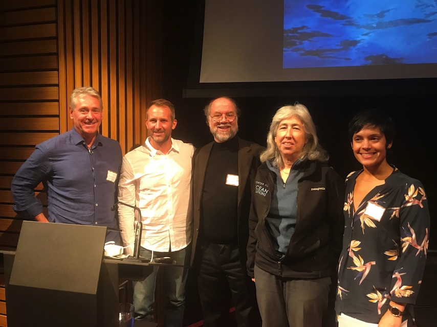Credit: Sharon Negri. From left to right: Shark Stewards Director David McGuire, Tandem Stills + Motion CEO and filmmaker Ian Shive, International Marine Mammal Project Director David Phillips, Stanford's Environmental Law Clinic Director Deborah Sivas, and Earth Island Advocates Director Sumona Majumdar.