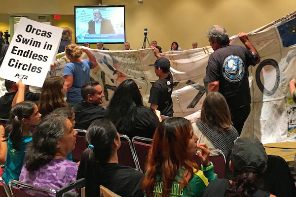 Free Corky Banner is unfurled during Mark Palmer's testimony for Earth Island.Photo by Michael Reppy